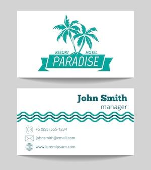 Tropische hotel visitenkartenvorlage