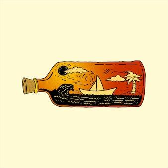 Tropische insel flasche