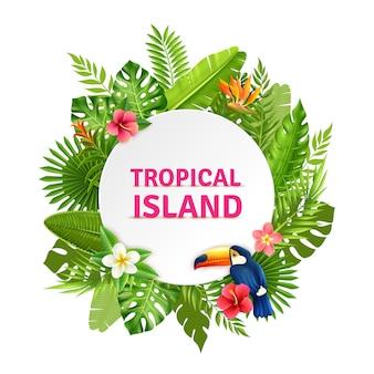 Tropische insel flora and toucan frame