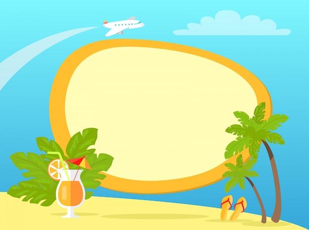 Tropische insel mit palmen und gelben flipflops
