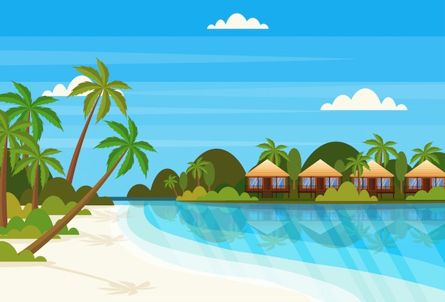 Tropische insel mit villa bungalow hotel am strand küste grüne palmen landschaft sommer ferienwohnung