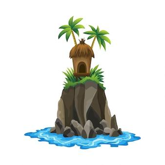 Tropische insel. tropische küste mit palmen und meereswellen. bungalow auf der insel. ruhe im resort