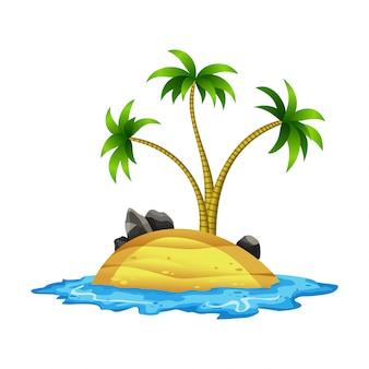 Tropische insel. tropische küste mit palmen und meereswellen. der sandstrand am meer. ruhe im resort.