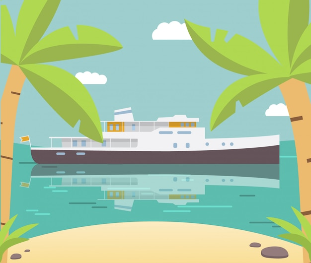 Tropische inselpalme der schiffsjachtsommer.