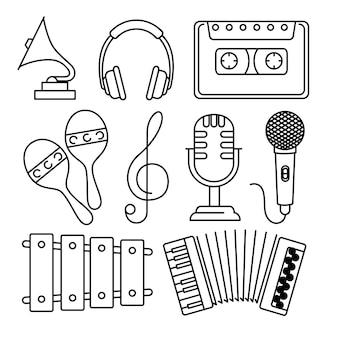 Tropische instrumente stellen icons ein