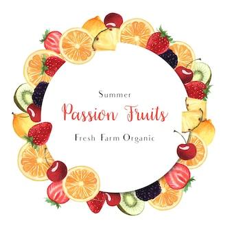 Tropische jahreszeit trägt kranzfahnenentwurf, der frische und geschmackvolle rahmen der maracuja-orange früchte
