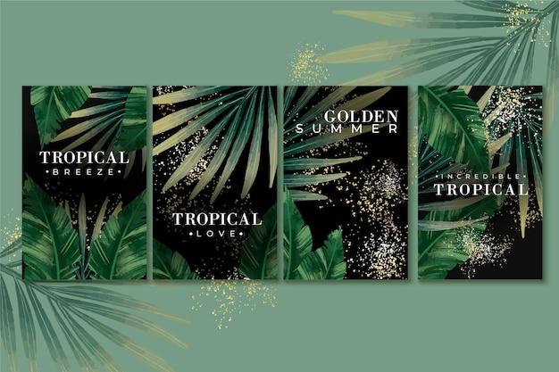 Tropische karten mit goldenen spritzer