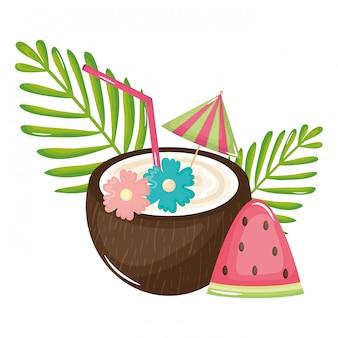 Tropische kokosnuss-cocktail-sommer-symbol