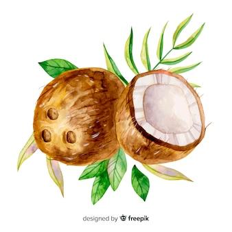 Tropische kokosnuss des aquarells mit blättern