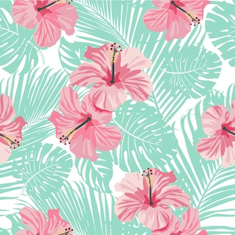 Tropische korallenblüten und blätter