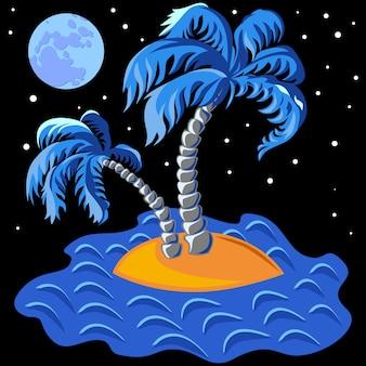 Tropische landschaft der insel im ozean und zwei palmen um mitternacht