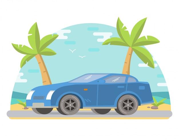 Tropische landschaft des sportautocoupés mit palmen