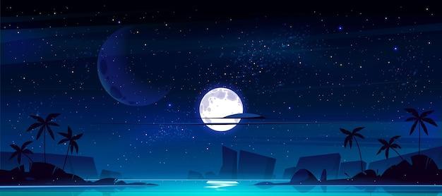 Tropische landschaft mit meeresbucht bei nacht