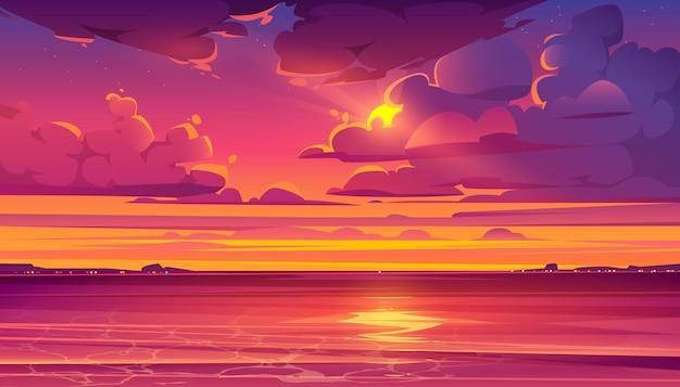 Tropische landschaft mit ozean und sonnenuntergang
