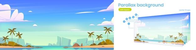 Tropische landschaft mit palmen der meeresbucht am strand und bergen am horizont vektorparallaxenhinterg...