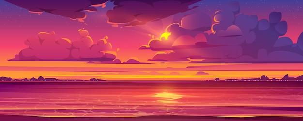 Tropische landschaft mit sonnenuntergang und ozean