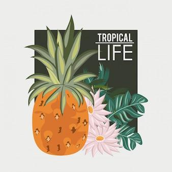 Tropische leben- und strandsommerkarte
