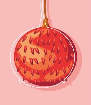 Tropische litschifrucht frischer cartoon