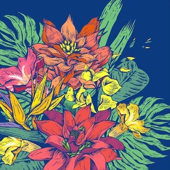 Tropische mit blumengrußkarte der vektorweinlese
