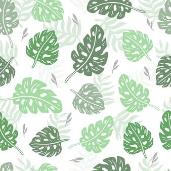 Tropische monstera und palmen-design-tapete mit nahtlosem muster