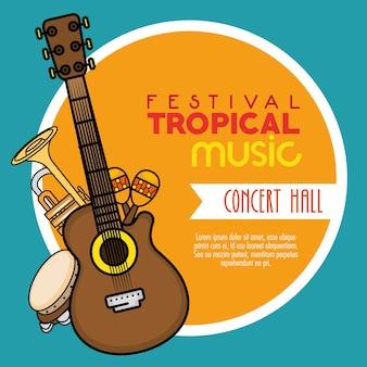 Tropische musik des plakatfestivals