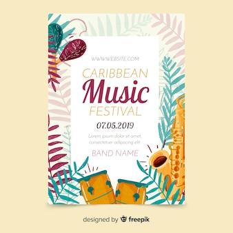 Tropische musik festival poster vorlage