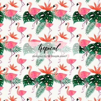 Tropische muster mit verschiedenen pflanzen in aquarell-stil