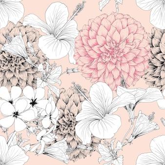 Tropische natur des nahtlosen musters mit hand zeichnen florale hibiskusblüten