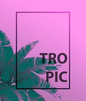 Tropische palmblätter auf rosa hintergrund minimales natursommerkonzept flache lage trendy summer