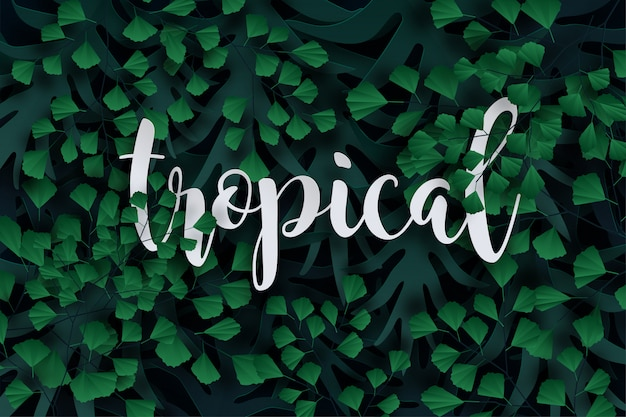 Tropische palmblätter, dschungelblätter, blätter hintergrund.