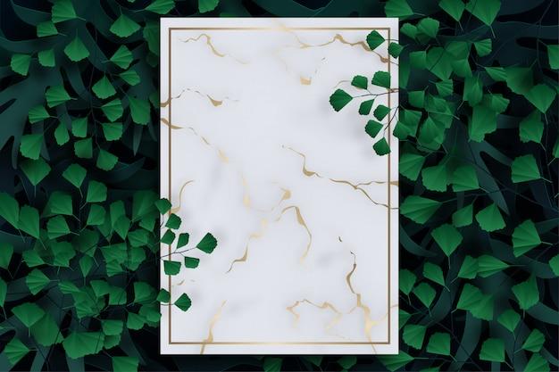 Tropische palmblätter, dschungelblätter, rahmen mit blättern hintergrund.