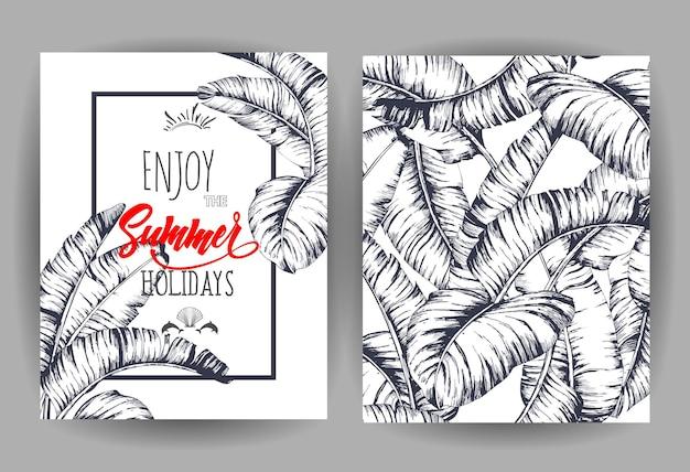 Tropische palmblätter hintergrund einladung oder kartendesign mit dschungelblättern