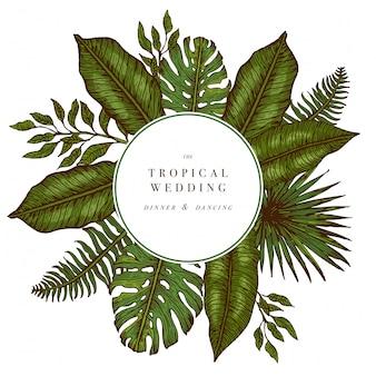 Tropische palmblätter. runde hochzeitseinladung des dschungels. designvorlage. vektor-illustration