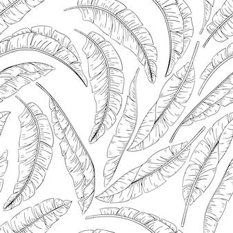 Tropische palmblätter skizzieren nahtloses muster, dschungelbanane