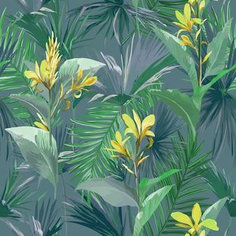 Tropische palmblätter und blumen, dschungelblätter nahtlose vektor floralen hintergrundmuster für tapeten, mode-textilien, stoffdruck, design-vorlage