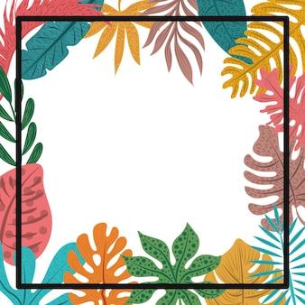 Tropische palmblätter und schwarzer rahmen