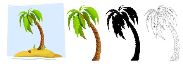 Tropische palmen illustration einer palme schwarze silhouetten und umrisskonturen