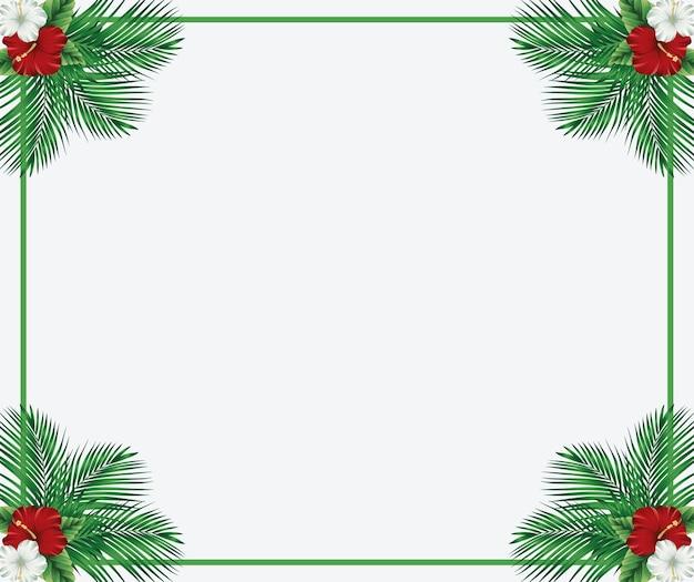 Tropische palmen und blumen hintergrund vektor-illustration
