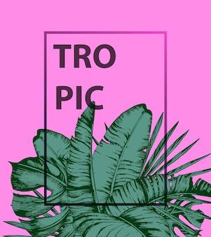 Tropische palmenblätter auf rosa hintergrundflacher trendy summer tropical leaves vector design