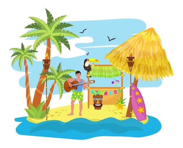 Tropische party, urlaub in hawaii, vektorillustration. sommerreisen im exotischen hawaiianischen stranddesign, männercharaktere spielen musik an der gitarre. spaßtanz in der nähe von palmen, bar und meerwasser.