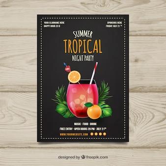 Tropische partybroschüre mit cocktail