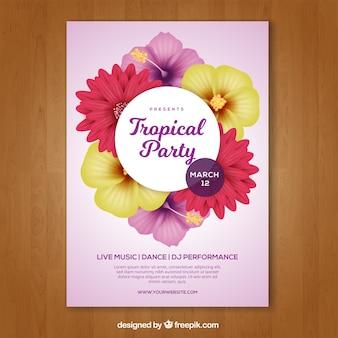 Tropische partybroschüre mit exotischen blumen