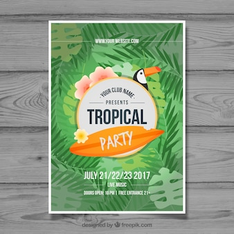 Tropische partybroschüre mit palmblättern und tukan