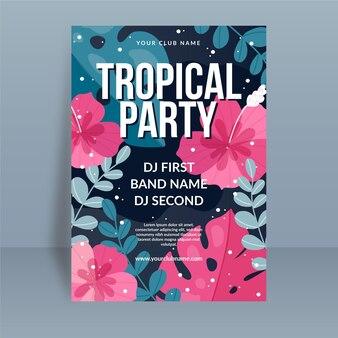 Tropische partyplakatschablone mit blumen und blättern