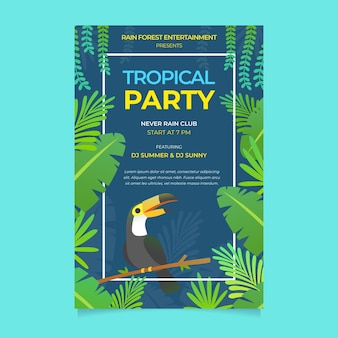 Tropische partyplakatschablone mit tukan
