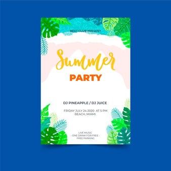 Tropische partyplakatschablone