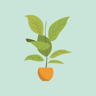 Tropische pflanze im topf-premium-vektor für mehrere zwecke geeignet