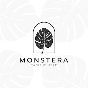 Tropische pflanze verlässt logo. monstera verlässt das logo-design. vektorillustrationen.