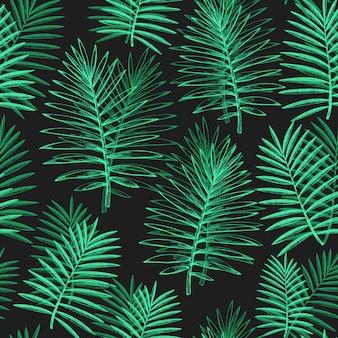 Tropische pflanzen nahtlose muster. hand gezeichnete exotische blattillustration des tropischen sommers auf dunkelheit. dschungelblätter, palmblätter graviert stil.