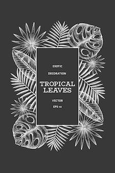 Tropische pflanzen rahmendesign. hand gezeichnete exotische blattillustration des tropischen sommers auf kreidebrett. dschungelblätter, palmblätter graviert stil.
